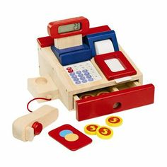 A wooden play cash register with an actual calculator built in!
