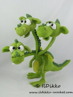 Brutus-Brian-Boris the Three Headed Dragon Amigurumi by IlDikko