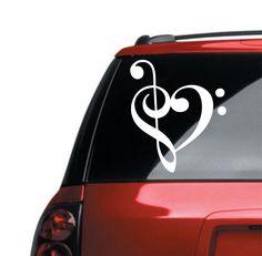 Treble Clef Love Music Vinyl Lettering Car Decal / Bumper Sticker/ Laptop Decal 6 x4 Treble Clef Heart Love Music Car Decal. $4.50, via Etsy.