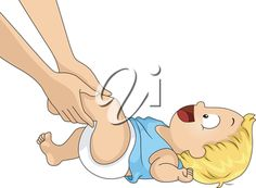 Illustration of an Adult Giving a Baby Boy a Leg Massage
