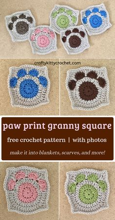 How to make a Paw Print Granny Square - FREE Crochet Pattern! This adorable and easy to make granny square is the perfect way to show your love for the pet(s) in Granny Square Crochet Pattern, Afghan Crochet Patterns, Crochet Squares, Crochet Motif, Granny Square Tutorial, Doilies Crochet, Crochet Blocks, Amigurumi Patterns, Double Crochet