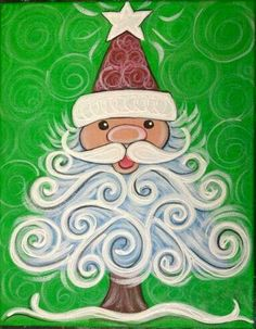 Cute Santa Tree 18 canvases to paint with  Christmas theme                                                                                                                                                                                 More