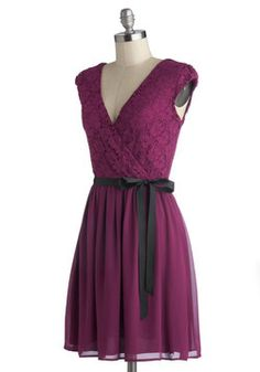 Champagne at Midnight Dress in Fuchsia, #ModCloth  replace the black ribbon