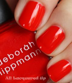 i'm obsessed with tomato-red polish lately, this is one is a beaut. deborah lippmann 'footloose'
