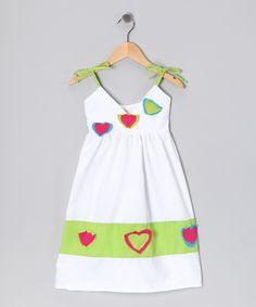 White & Lime Little Heart Dress - Infant, Toddler & Girls