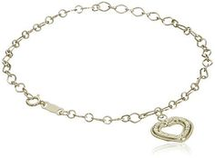 """10k Yellow Gold Diamond-Cut Dangle Heart Bracelet, 7.5"""" >>> Details can be found by clicking on the image."""