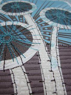 stitched collage seed pod, dandilion clocks