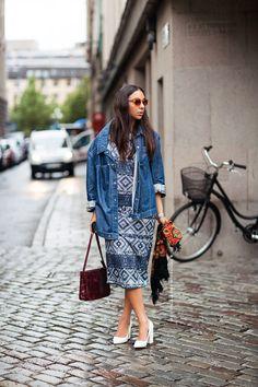 denim jacket over printed dress