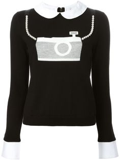 Aria Montgomery 5x15 ARIA'S CAMERA SWEATER WITH PEARLS Alice+Olivia camera jacquard peter pan collar sweater