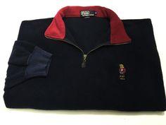 Polo By Ralph Lauren XL Navy Blue Pull Over Half Zip Bear Fleece Sweater Vtg #PoloByRalphLauren #12Zip