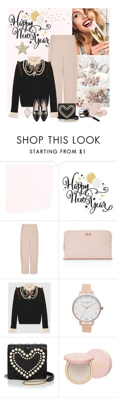 """""""New Year drinks"""" by molly2222 ❤ liked on Polyvore featuring Prada, Emporio Armani, Ted Baker, Gucci, Olivia Burton, Boutique Moschino, Too Faced Cosmetics, Kate Spade and Christmassweater2016"""