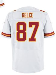 """$78.00--Travis Kelce White Elite Jersey - Nike Stitched Kansas City Chiefs #87 Jeresey,Free Shipping! Buy it now:click on the picture, than click on """"visit aliexpress.com"""" In the new page."""
