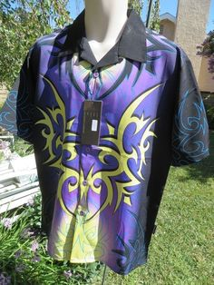 DRAGONFLY SHIRT NEW MEDIUM Black Purple Yellow Blue STUNNING PG-692 Tribal #Dragonfly #ButtonFront