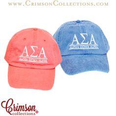Pigment washed hats now at Crimson Collections! Coral & Blue Alpha Sigma Alpha embroidered hats!