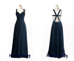 Midnight Navy Blue Chiffon Open Back Prom Dresses, V-neck Thick Straps High Slit Backless Evening Gown MD216 on Etsy, $148.00