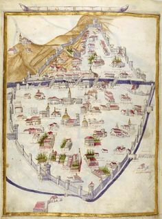 """Map of Florence,"" a miniature comes from the 'Ptolemy's Geography' (1470), the Bibliothèque nationale de France, Paris."