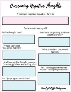 How to Overcome Negative Thoughts and Be More Positive + Free Worksheet Lovely Holistic Living Therapy Worksheets, Therapy Activities, Self Esteem Worksheets, Cbt Worksheets, Negative Thinking, Negative Thoughts, 3am Thoughts, Random Thoughts, Thoughts