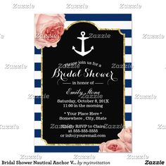 Bridal Shower Nautical Anchor Vintage Floral Card