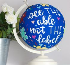 Painted Globe, Hand Painted, Going Away Parties, Globe Art, Autism Awareness Month, Metallic Paint, Custom Paint, Perfect Match, Get One