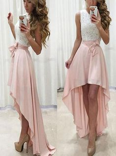 Pink Lace and Chiffon Prom Dresses, High Low Formal Dresses, Homecomin – BeMyBridesmaid
