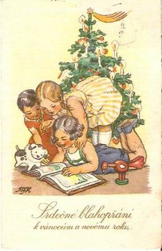 Old Czech Christmas Card -Marie Fischerová Kvěchová Vintage Christmas Cards, Retro Christmas, Christmas Art, Christmas Greetings, Christmas Decorations, Christmas Postcards, Vintage Crafts, Holiday Tree, Vintage Children