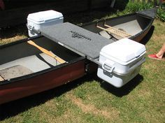 An innovative canoe system that acts as outrigger, camp table, and cooler…