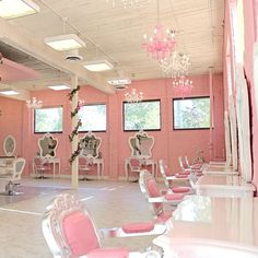 The extensionist pink glam salon decor inspo Accessories care Color Tools Makeup Free Makeup Makeup Glam Hair Salon, Home Hair Salons, Hair Salon Interior, Salon Lighting, Body Posi, Spa, Hair Studio, Dream Hair, Beauty Room