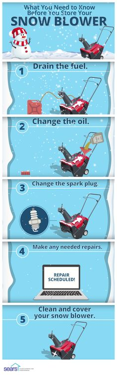 Tips for Storing Your Snow Blower: Before you store your snow blower after the last snow of the season, perform some routine maintenance to make sure it's stored safely and properly so it's ready to go for next year. Did you remember to drain the fuel and change the oil? What about changing the spark plug? These easy tips and tricks will help your snow blower work harder and live longer. Click through to visit the Sears Home Services blog for more snow blower maintenance tips.