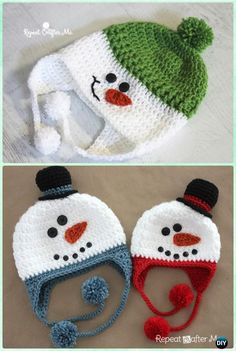 Crochet Snowman Earflap Hat Free Pattern Instructions-DIY Crochet Ear Flap Hat Free Patterns