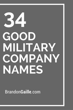 34 Good Military Company Names