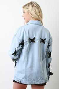 Ribbon Lace-Up Denim Jacket Revamp Clothes, Diy Clothes, Dope Fashion, Denim Fashion, Punk Jackets, Outerwear Jackets, Outfit Goals, Fall Outfits, Lace Up