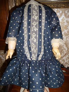 antique doll dress | this is a wonderful antique doll dress to fit a doll of about 21 24 in ...
