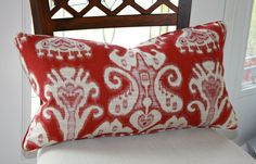 Ikat Large Lumbar Pillow Cover from Kravet in Red by trendypillows, $60.00