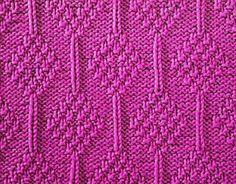 Knitting Galore: Moss Stitch Diamonds knit and purl stitch patterns
