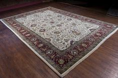 Hand Knotted Mashad Palace Rug from India. Length: 424.0cm by Width: 305.0cm. Only £4969 at https://www.olneyrugs.co.uk/shop/rugs-for-sale/indian-mashad-palace-18267.html    Take home one of our striking range of Persian rugs, foot stools and Kilim bags at www.olneyrugs.co.uk