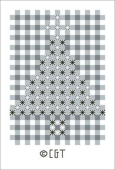Hardanger Embroidery Patterns Free Chicken Scratch Embroidery Patterns - Chicken Scratch Embroidery, a variation of Cross Stitch, is done on gingham fabric. Use these free patterns to practice this traditional embroidery style. Floral Embroidery Patterns, Christmas Embroidery Patterns, Christmas Tree Pattern, Embroidery Designs, Christmas Trees, Christmas Ornaments, Christmas Napkins, Hardanger Embroidery, Hand Embroidery Stitches