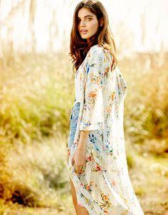 Kimono long Bershka fleurs - Woman - Bershka France