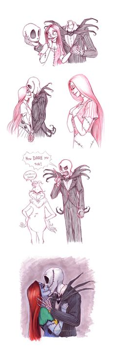 Even More Jack N Sally by briannacherrygarcia.deviantart.com I've always loved this artist's artwork with jack and sally.i'm so glad to find a color one, and not just red and black