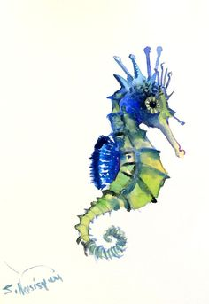 Blue Green Seahorse Original watercolor painting by ORIGINALONLY