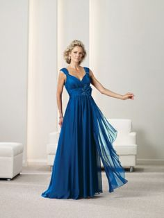 A-line Straps Chiffon Floor-length Flower(s) Mother of the Bride Dresses at Msdressy