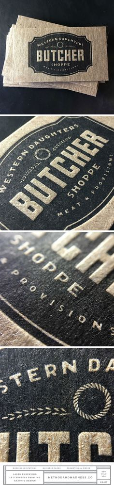 Butcher shop letterpress business cards using chipboard. Design by The Made Shop.