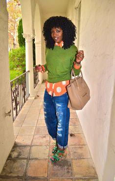 Style Pantry | Sweater + Polka Dot Shirt + Boyfriend Jeans