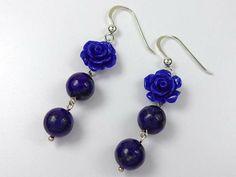 Sterling silver flower lapis lazuli earrings