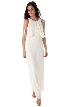 Ecru maxi dress with cut out back - 59,90 € - https://q2shop.com/