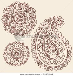 stock matrix : Hand-Drawn Henna Mehndi Tattoo Flowers and Paisley Doodle