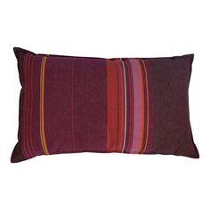Pink, Orange and Purple Striped Pillow - $275 Est. Retail - $100 on Chairish.com