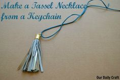 Learn how to make a tassel necklace from a keychain in about five minutes. Super fast, easy and a great way to stay on top of the trends for fall!