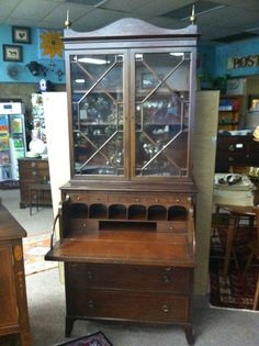 Gorgeous Antique Inlaid Mahogany Butler's Desk/Secretary circa Early 20th Century on Etsy, $1,950.00