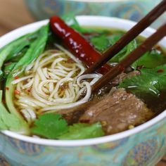 Beef Asian Noodle Soup is love at first bite. Tender beef and crispy baby bok choy is served over a rich Asian spiced broth with gratifying lacy noodles. Pho Soup Recipe Easy, Beef Soup Recipes, Cooking Recipes, Beef Broth Soup Recipes, Asian Noodle Recipes, Asian Recipes, Asian Noodle Soups, Chinese Beef Noodle Soup, Asian Desserts