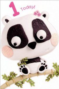 "1st Birthday Greeting Card - Panda by Pictura. $3.95. Cover: 1 Today!. Artist: Beverley Edge© Courtesy of Paper Rose, Marzipan toybox. Details: embossed, glossy colorful claymation character. Inside: O what fun! Today you are 1! Happy Birthday. Cover: 1 Today!  Inside: O what fun! Today you are 1! Happy Birthday  Details: embossed, glossy colorful claymation character Manufacturer: Pictura Artist: Beverley Edge© Courtesy of Paper Rose, Marzipan toybox  Size: 4.5""x6.75"""